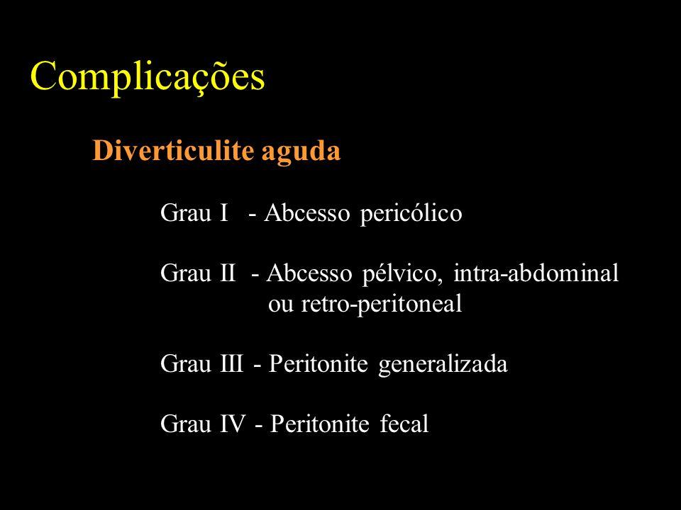 Complicações Diverticulite aguda Grau I - Abcesso pericólico Grau II - Abcesso pélvico, intra-abdominal ou retro-peritoneal Grau III - Peritonite generalizada Grau IV - Peritonite fecal
