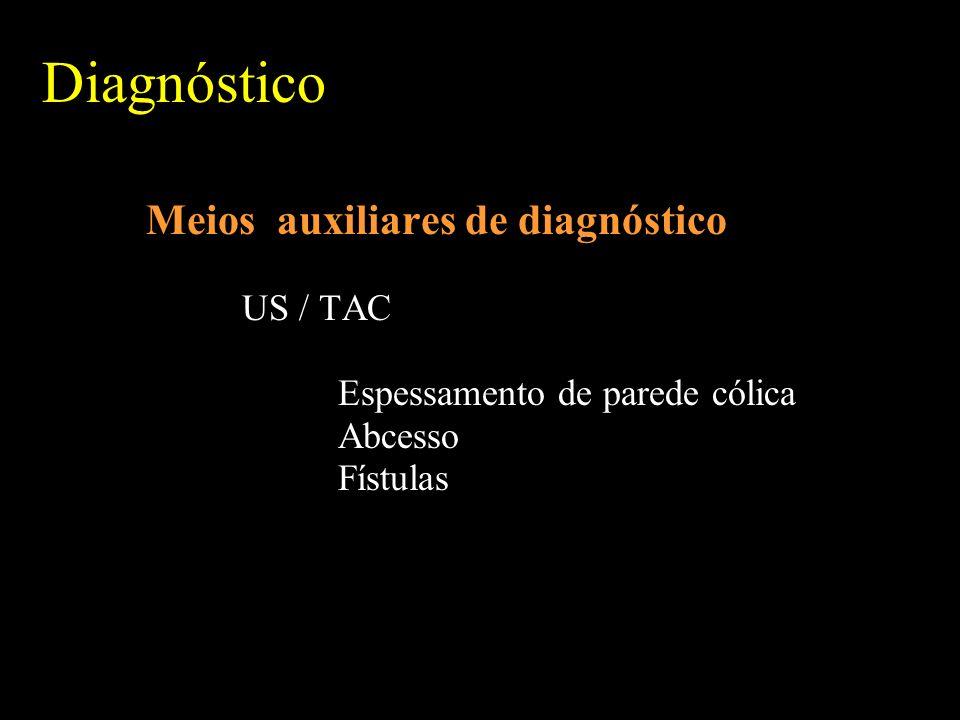 Diagnóstico Meios auxiliares de diagnóstico US / TAC Espessamento de parede cólica Abcesso Fístulas