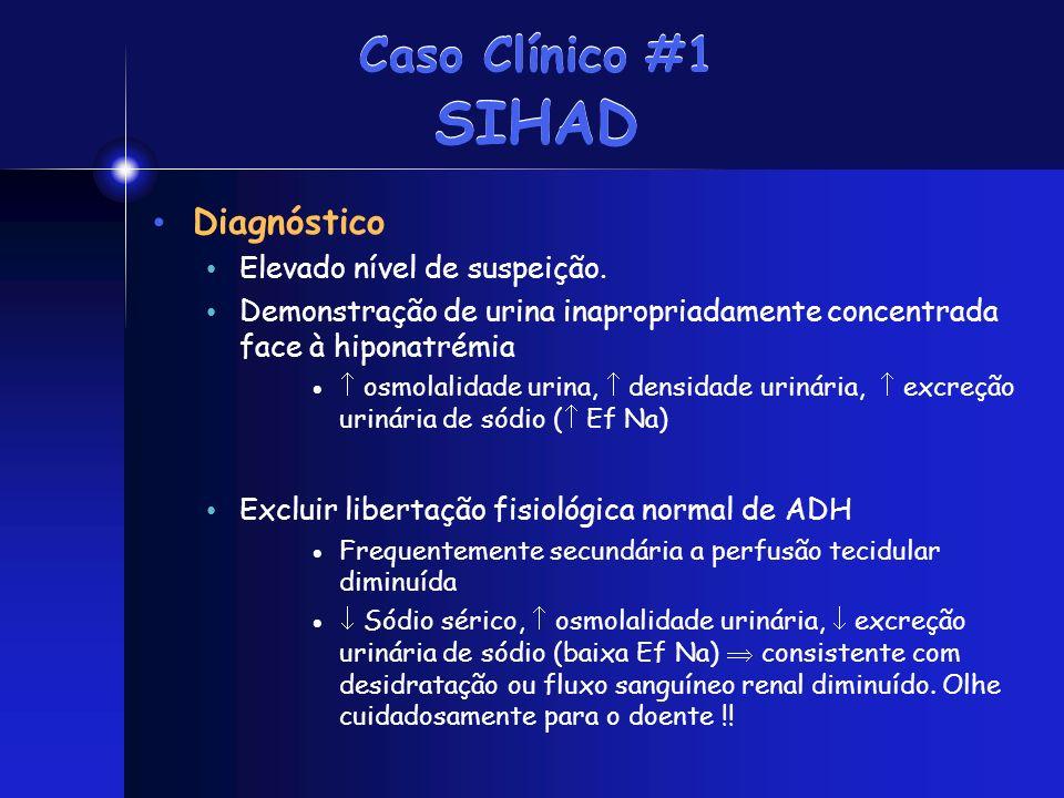 Caso Clínico #1 SIHAD Diagnóstico Elevado nível de suspeição. Demonstração de urina inapropriadamente concentrada face à hiponatrémia osmolalidade uri