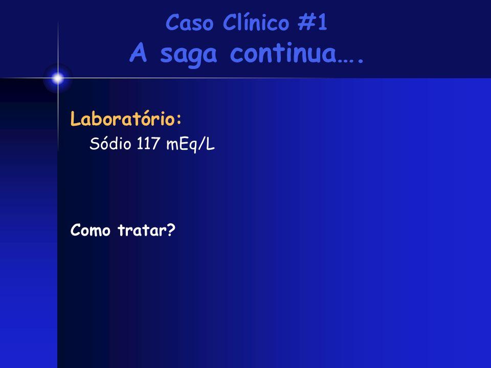 Caso Clínico #1 A saga continua…. Laboratório: Sódio 117 mEq/L Como tratar?