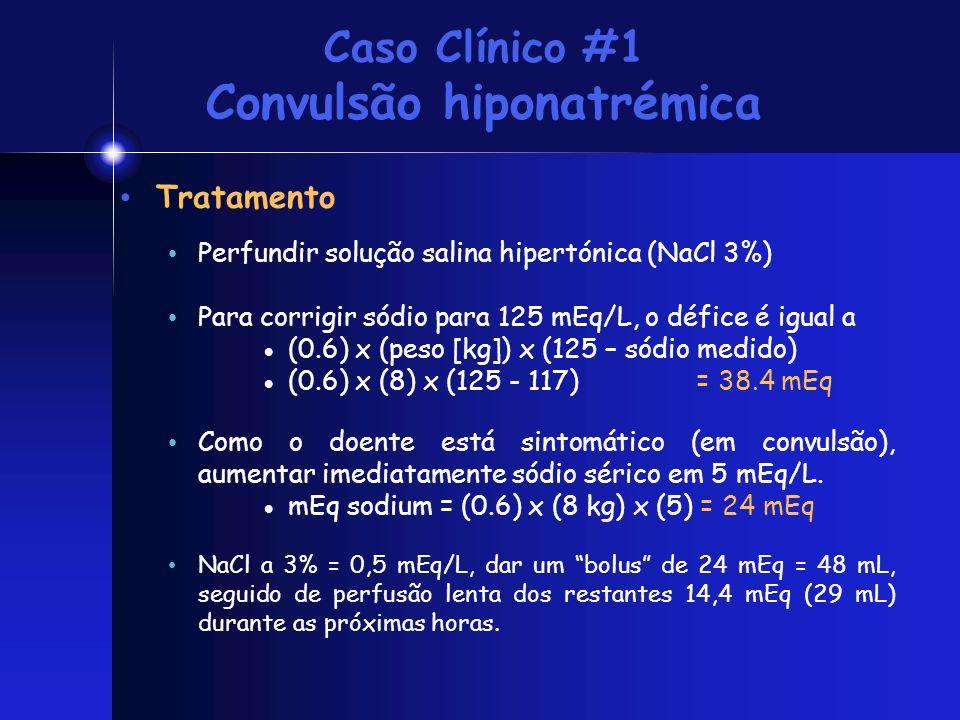 Caso Clínico #1 Convulsão hiponatrémica Tratamento Perfundir solução salina hipertónica (NaCl 3%) Para corrigir sódio para 125 mEq/L, o défice é igual