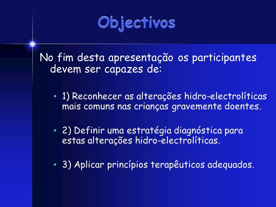 Objectivos No fim desta apresentação os participantes devem ser capazes de: 1) Reconhecer as alterações hidro-electrolíticas mais comuns nas crianças