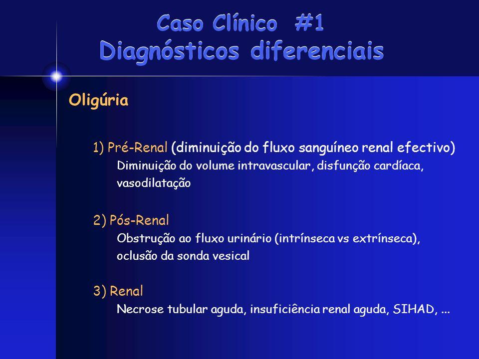 Caso Clínico #1 Diagnósticos diferenciais Oligúria 1) Pré-Renal (diminuição do fluxo sanguíneo renal efectivo) Diminuição do volume intravascular, dis