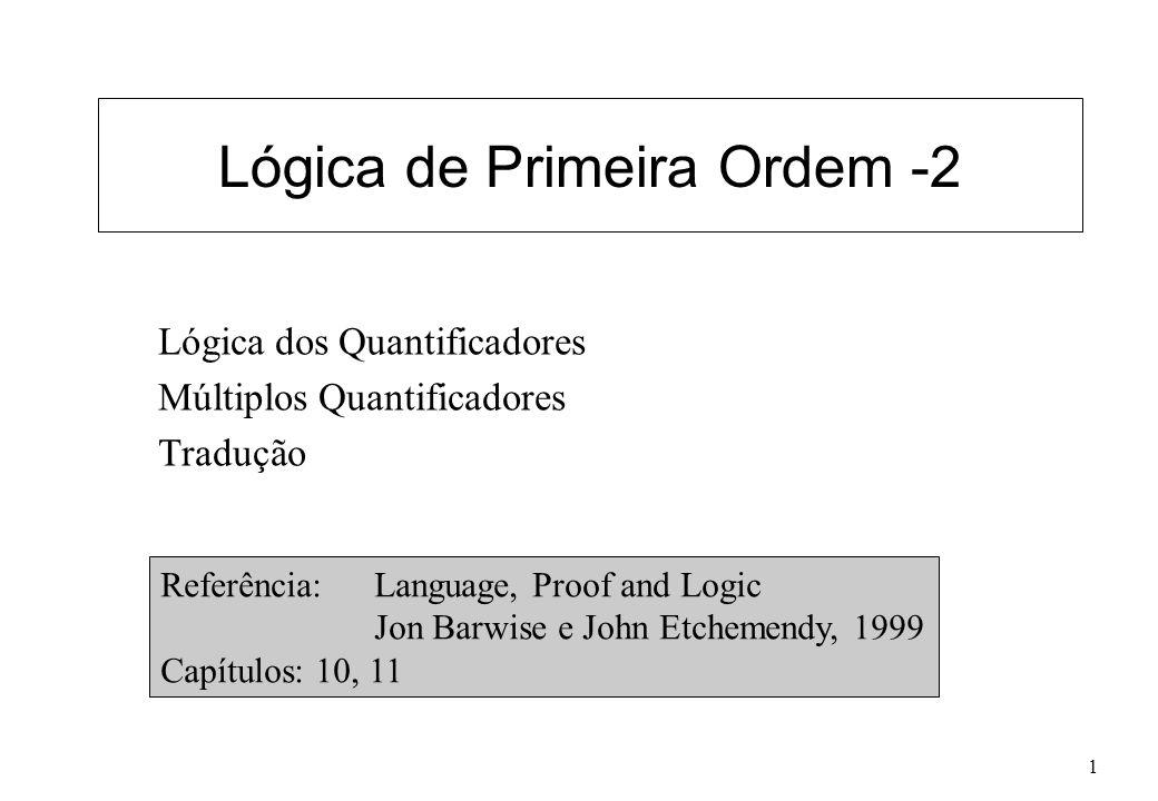 Lógica de Primeira Ordem-22 Exemplo x[(C(x) y(T(y) L(x,y))) y(D(y) B(x,y))] x[ y(C(x) T(y) L(x,y)) y(D(y) B(x,y))] x[ y (C(x) T(y) L(x,y)) z(D(z) B(x,z))] x y[ (C(x) T(y) L(x,y)) z(D(z) B(x,z))] x y[ z (C(x) T(y) L(x,y)) z(D(z) B(x,z))] x y z[ (C(x) T(y) L(x,y)) (D(z) B(x,z))] Substituições inválidas.