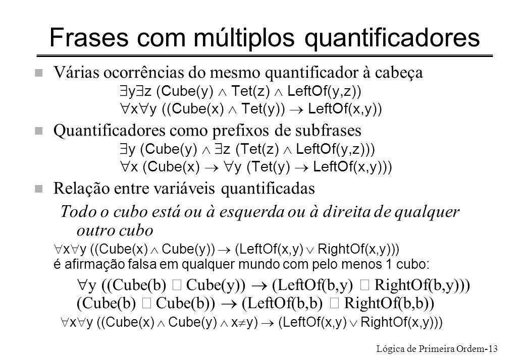 Lógica de Primeira Ordem-13 Frases com múltiplos quantificadores n Várias ocorrências do mesmo quantificador à cabeça y z (Cube(y) Tet(z) LeftOf(y,z))