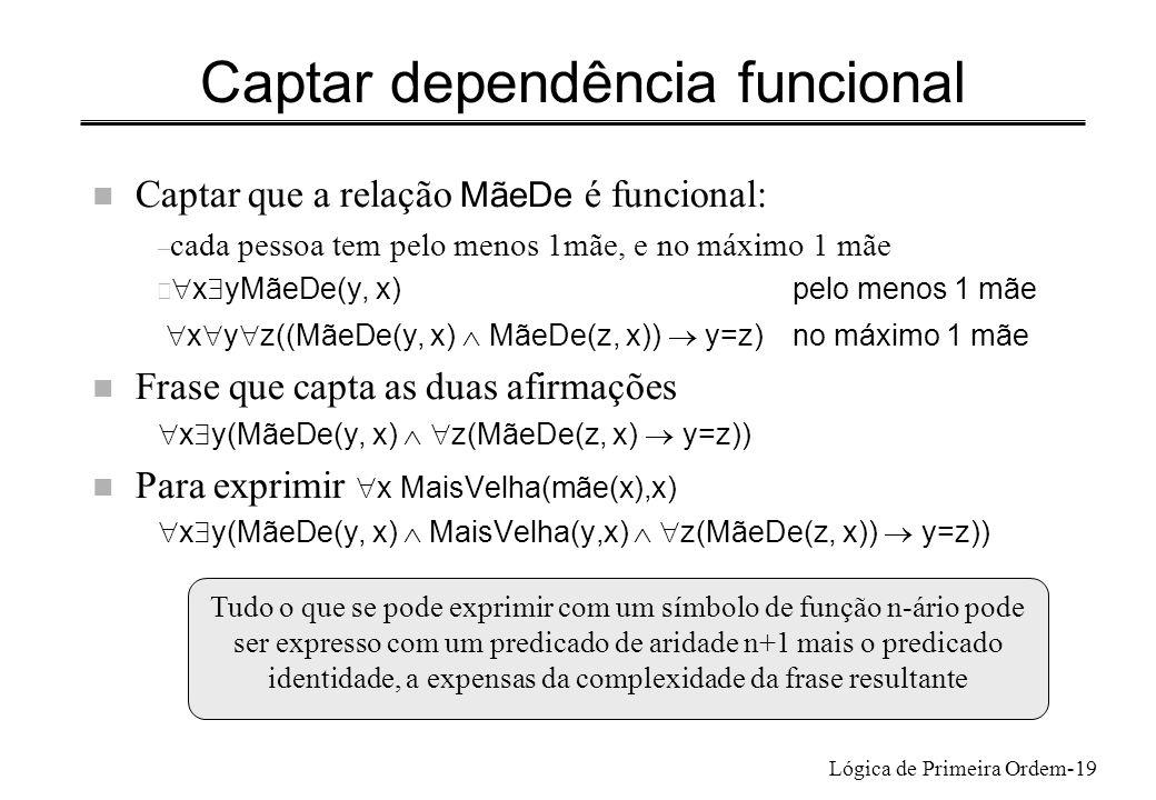 Lógica de Primeira Ordem-19 Captar dependência funcional Captar que a relação MãeDe é funcional: – cada pessoa tem pelo menos 1mãe, e no máximo 1 mãe