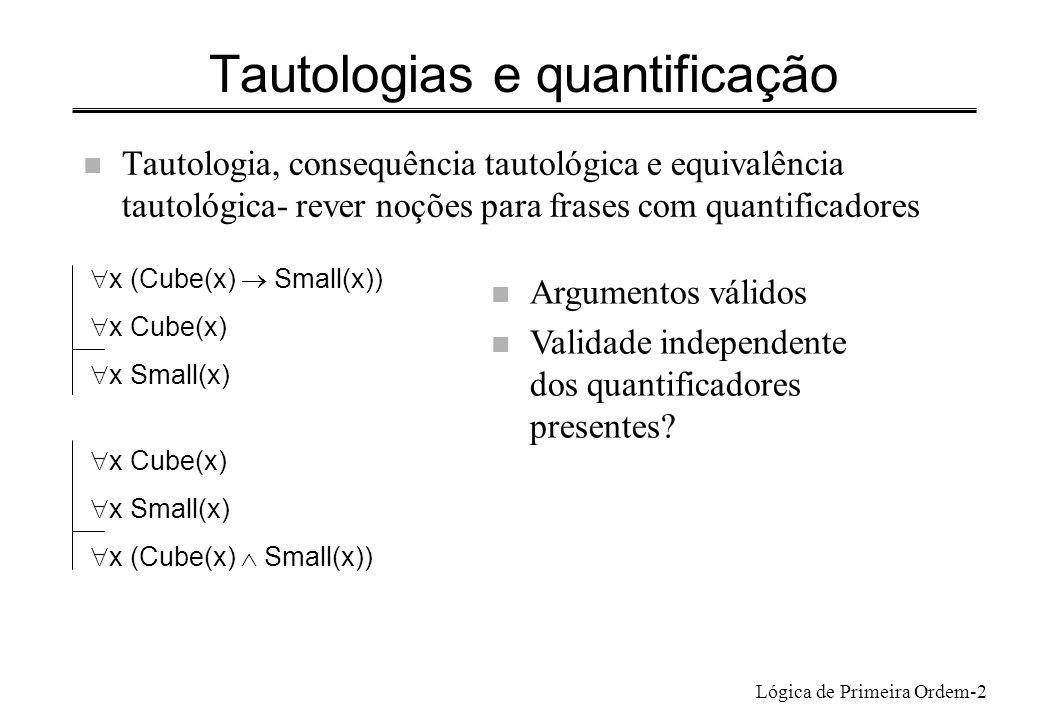 Lógica de Primeira Ordem-2 Tautologias e quantificação n Tautologia, consequência tautológica e equivalência tautológica- rever noções para frases com