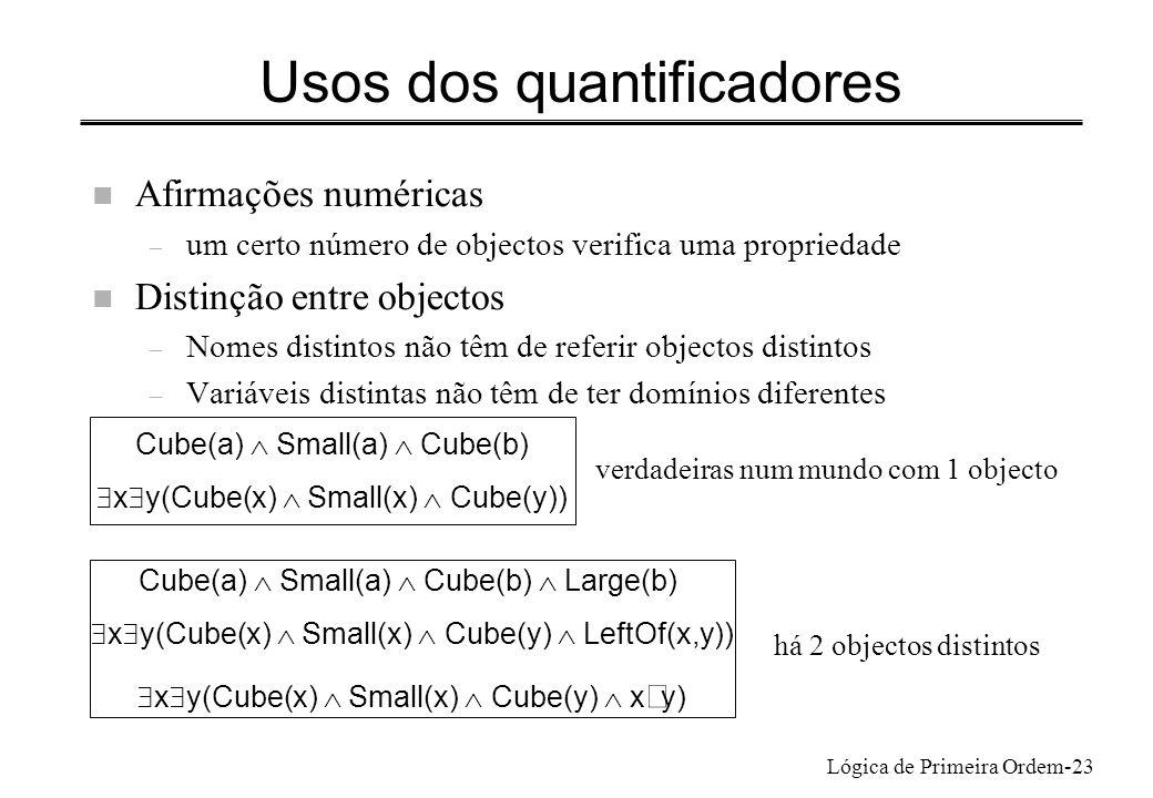 Lógica de Primeira Ordem-23 Usos dos quantificadores n Afirmações numéricas – um certo número de objectos verifica uma propriedade n Distinção entre o