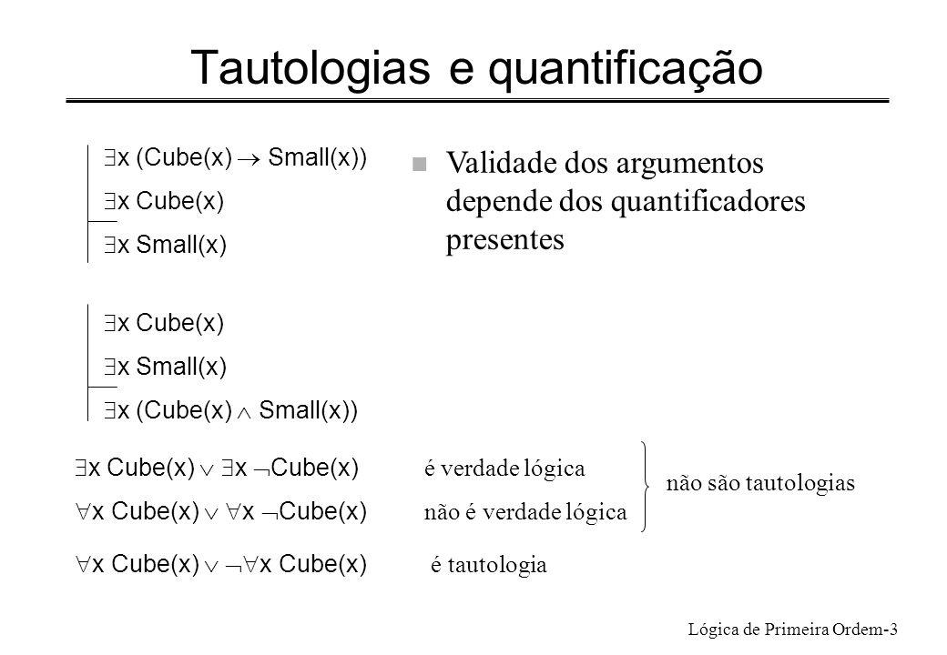 Lógica de Primeira Ordem-4 Tautologias e substituição n Tautologia- substituindo uma frase atómica por uma frase arbitrária, continua a ser uma tautologia n Exemplo (A B) ( B A) é tautologia ( y (P(y) R(y)) x (P(x) Q(x))) ( x (P(x) Q(x)) y (P(y) R(y))) é tautologia n A mesma frase poderia ter sido obtida por substituição em A B ou em ( A B) C que não são tautologias Como saber se uma frase arbitrária pode ser obtida por substituição a partir de uma tautologia?