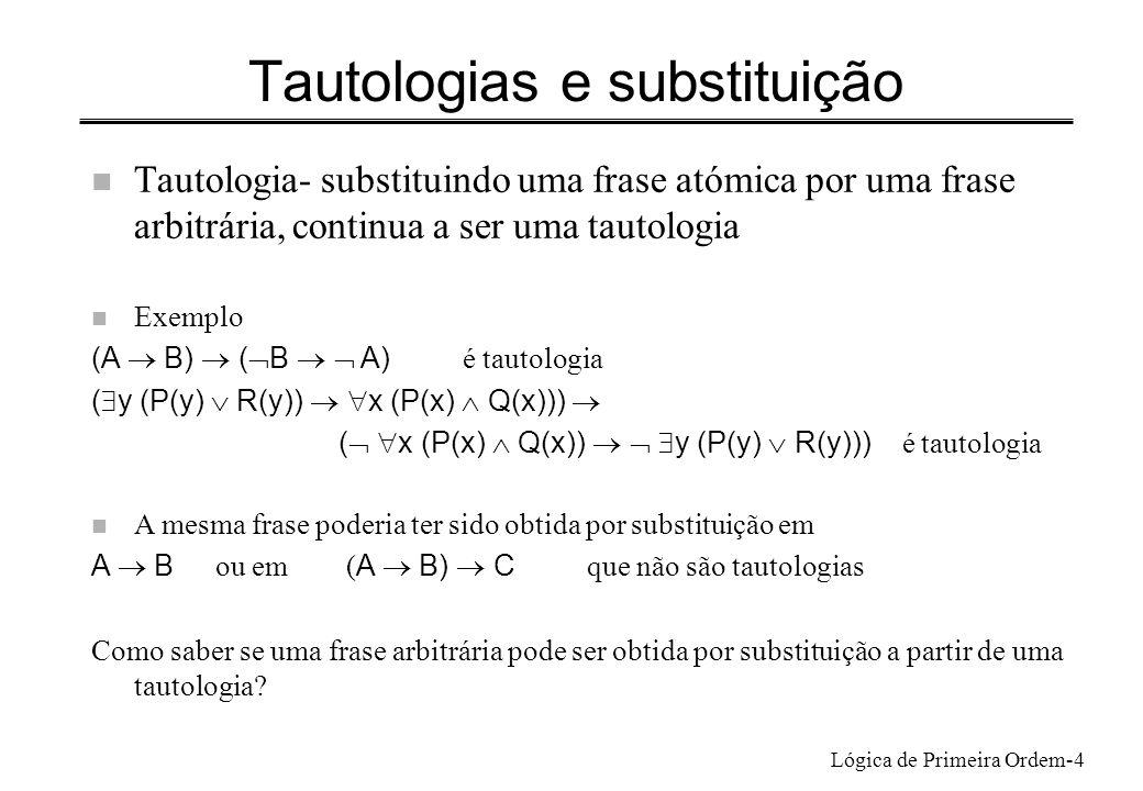 Lógica de Primeira Ordem-4 Tautologias e substituição n Tautologia- substituindo uma frase atómica por uma frase arbitrária, continua a ser uma tautol