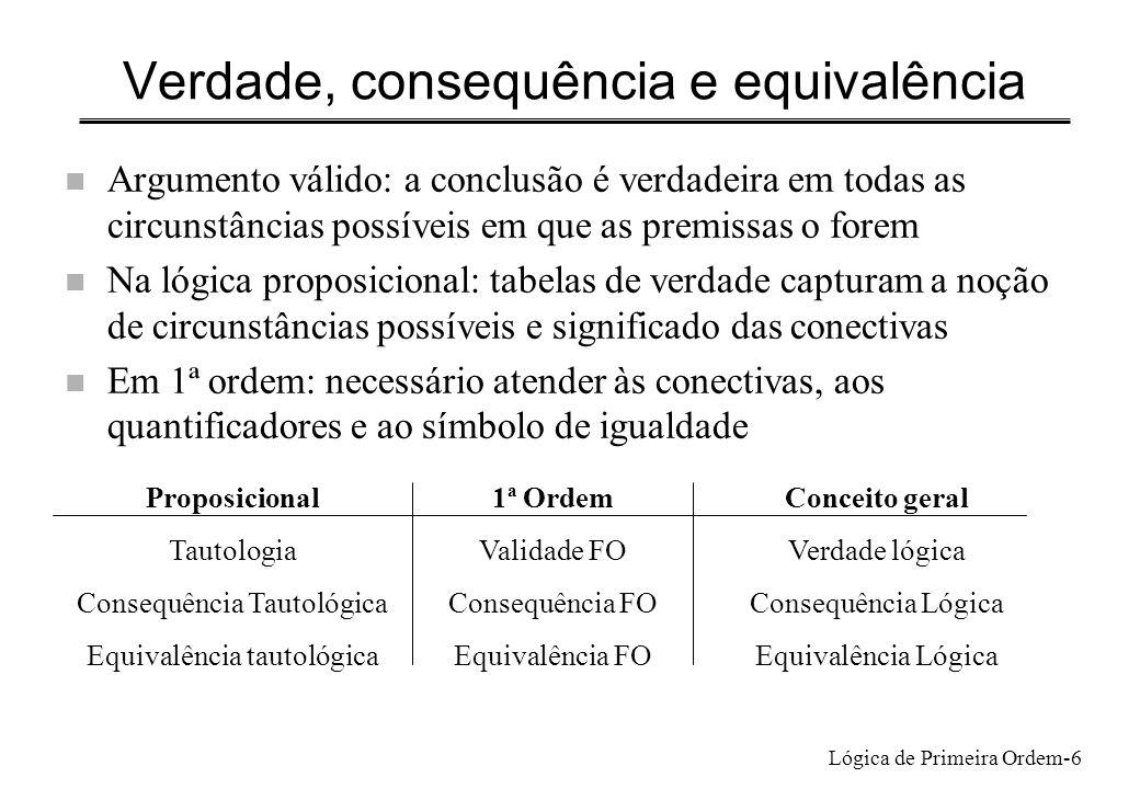 Lógica de Primeira Ordem-6 Verdade, consequência e equivalência n Argumento válido: a conclusão é verdadeira em todas as circunstâncias possíveis em q