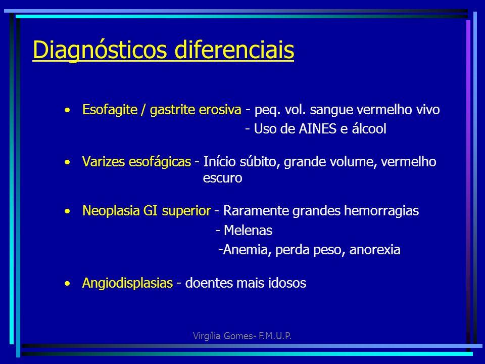 Virgília Gomes- F.M.U.P. Diagnósticos diferenciais Esofagite / gastrite erosiva - peq. vol. sangue vermelho vivo - Uso de AINES e álcool Varizes esofá