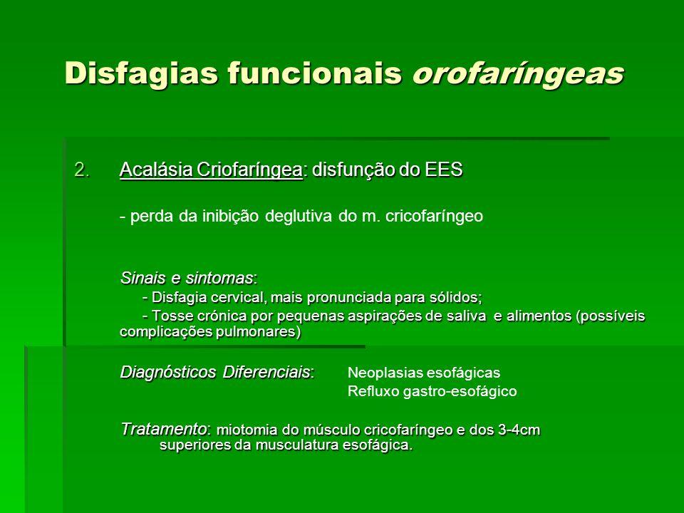 Disfagias funcionais orofaríngeas 2.Acalásia Criofaríngea: disfunção do EES - perda da inibição deglutiva do m. cricofaríngeo Sinais e sintomas: - Dis