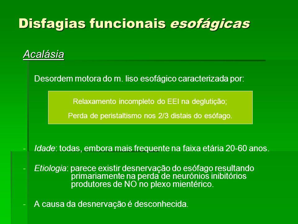 Disfagias funcionais esofágicas Acalásia Desordem motora do m. liso esofágico caracterizada por: - -Idade: todas, embora mais frequente na faixa etári