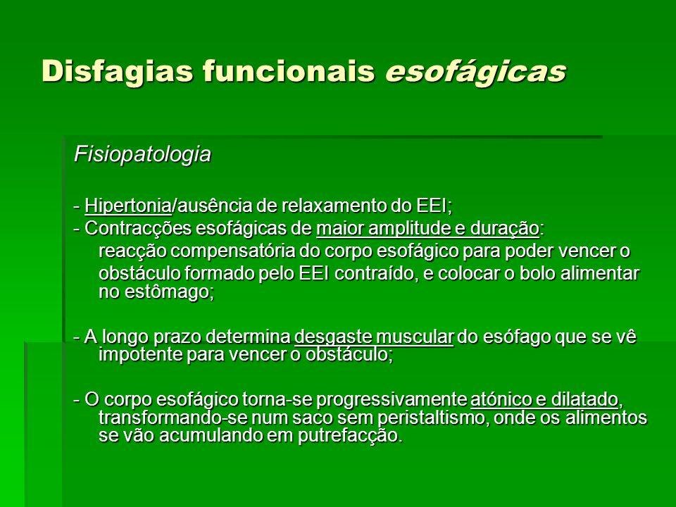 Disfagias funcionais esofágicas Fisiopatologia - Hipertonia/ausência de relaxamento do EEI; - Contracções esofágicas de maior amplitude e duração: rea