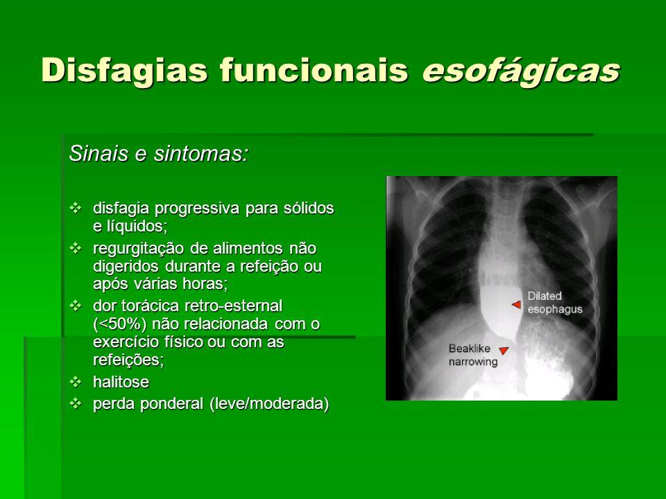 Disfagias funcionais esofágicas Sinais e sintomas: disfagia progressiva para sólidos e líquidos; disfagia progressiva para sólidos e líquidos; regurgi