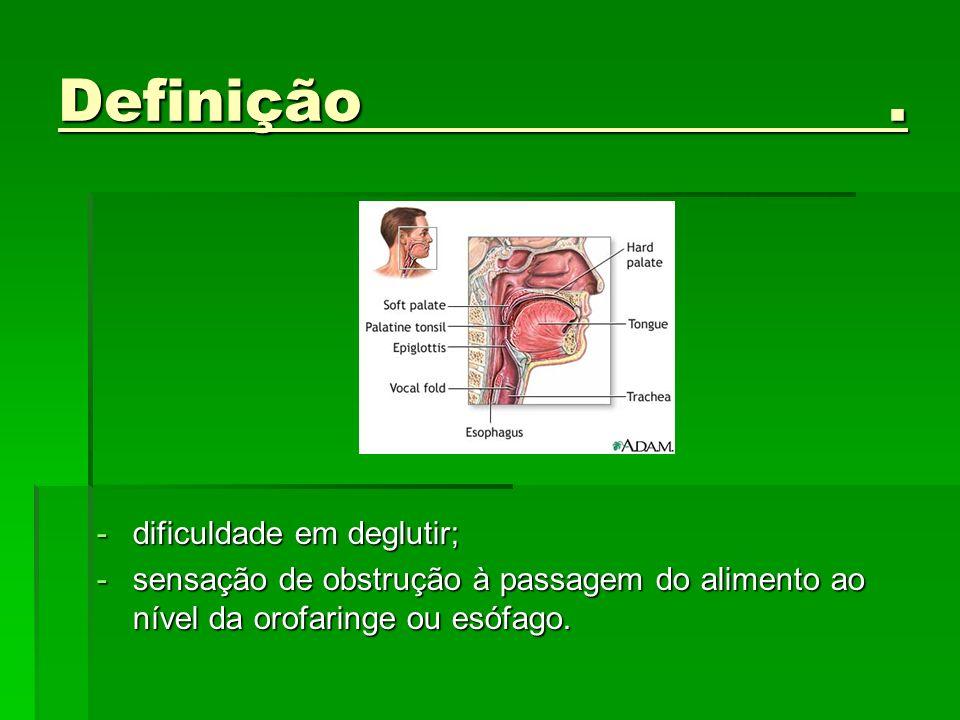 Definição. -dificuldade em deglutir; -sensação de obstrução à passagem do alimento ao nível da orofaringe ou esófago.