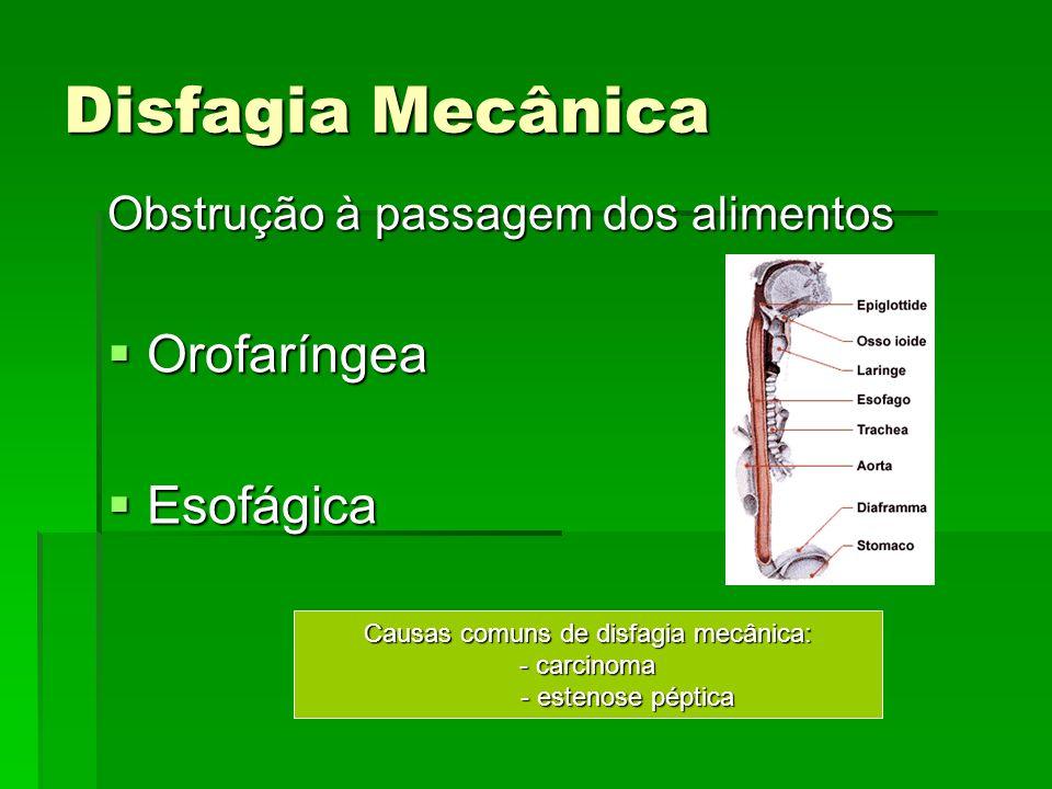 Disfagia Mecânica Obstrução à passagem dos alimentos Orofaríngea Orofaríngea Esofágica Esofágica Causas comuns de disfagia mecânica: - carcinoma - est