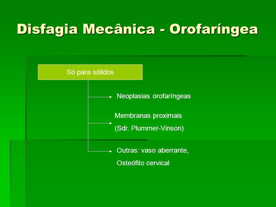 Disfagia Mecânica - Orofaríngea Disfagia Mecânica - Orofaríngea Só para sólidos Neoplasias orofaríngeas Membranas proximais (Sdr. Plummer-Vinson) Outr