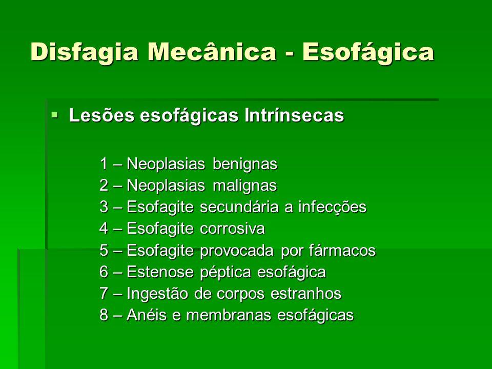 Disfagia Mecânica - Esofágica Lesões esofágicas Intrínsecas Lesões esofágicas Intrínsecas 1 – Neoplasias benignas 2 – Neoplasias malignas 3 – Esofagit