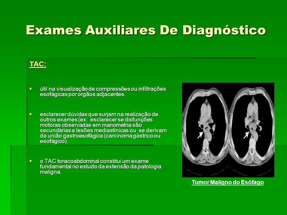 Exames Auxiliares De Diagnóstico TAC: útil na visualização de compressões ou infiltrações esofágicas por orgãos adjacentes. útil na visualização de co