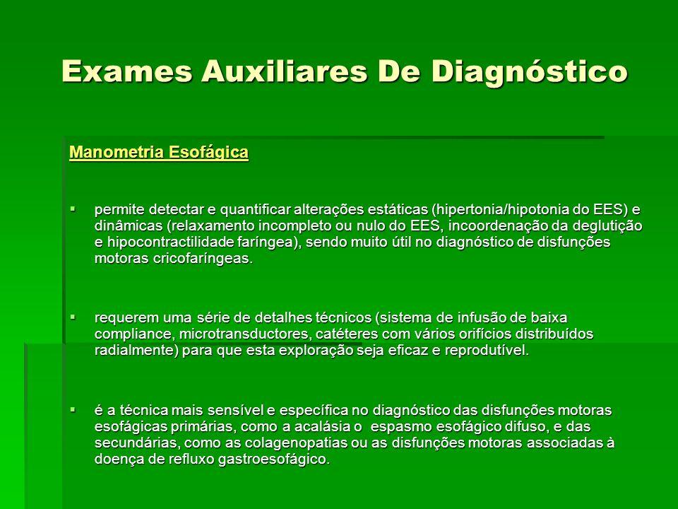 Exames Auxiliares De Diagnóstico Manometria Esofágica permite detectar e quantificar alterações estáticas (hipertonia/hipotonia do EES) e dinâmicas (r
