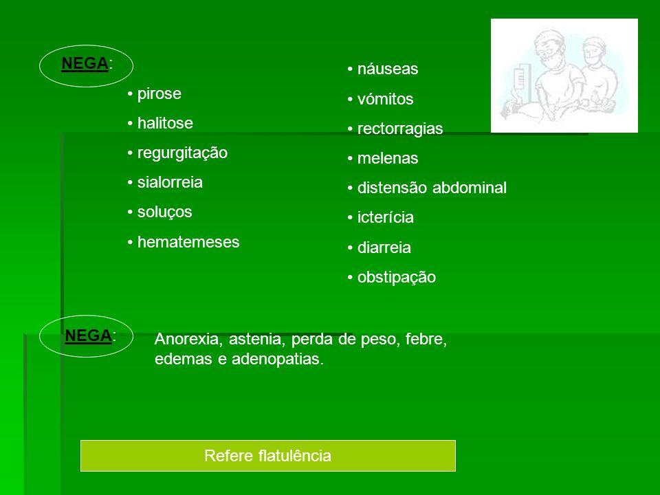 NEGA: pirose halitose regurgitação sialorreia soluços hematemeses náuseas vómitos rectorragias melenas distensão abdominal icterícia diarreia obstipaç