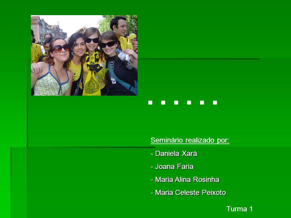 …… Seminário realizado por: Daniela Xará - Daniela Xará - Joana Faria - Maria Alina Rosinha - Maria Celeste Peixoto Turma 1