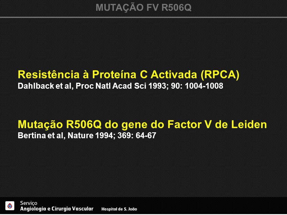 MUTAÇÃO FV R506Q Resistência à Proteína C Activada (RPCA) Dahlback et al, Proc Natl Acad Sci 1993; 90: 1004-1008 Mutação R506Q do gene do Factor V de