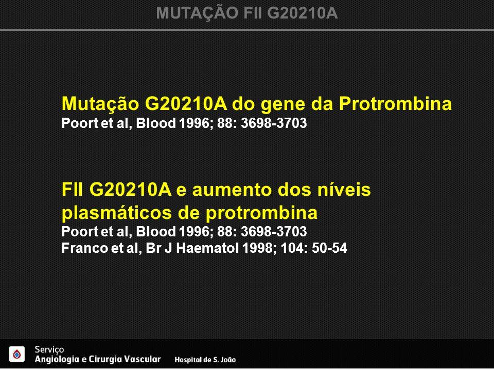 MUTAÇÃO FII G20210A Mutação G20210A do gene da Protrombina Poort et al, Blood 1996; 88: 3698-3703 FII G20210A e aumento dos níveis plasmáticos de prot