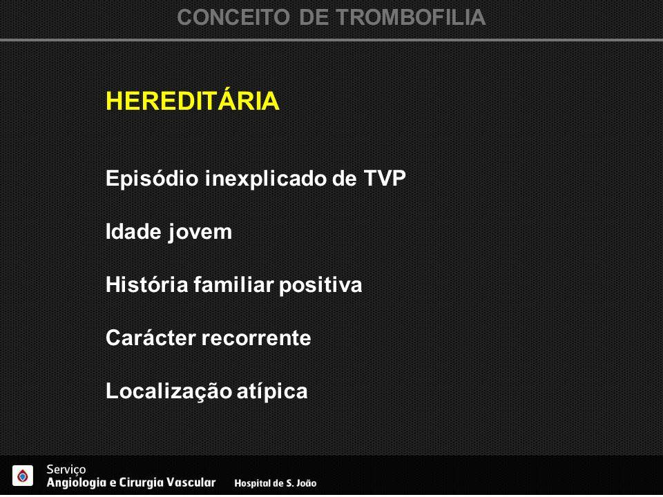 CONCEITO DE TROMBOFILIA HEREDITÁRIA Episódio inexplicado de TVP Idade jovem História familiar positiva Carácter recorrente Localização atípica