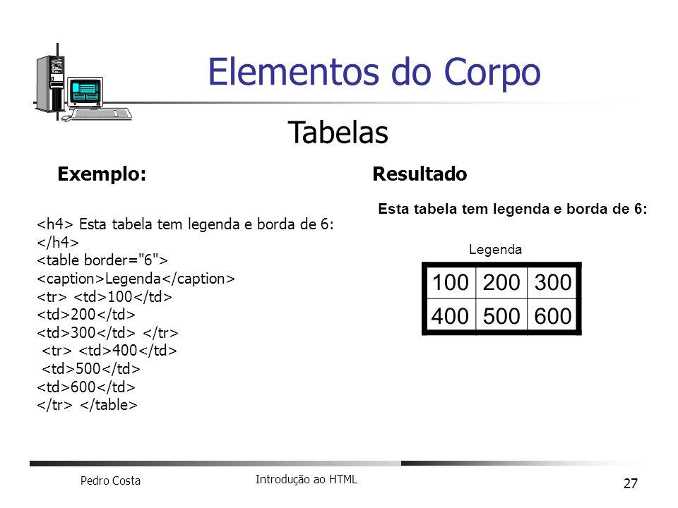 Pedro Costa Introdução ao HTML 27 Elementos do Corpo Tabelas Exemplo: Esta tabela tem legenda e borda de 6: Legenda 100 200 300 400 500 600 Resultado