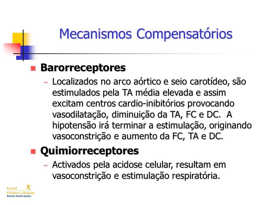 Mecanismos Compensatórios n Barorreceptores – Localizados no arco aórtico e seio carotídeo, são estimulados pela TA média elevada e assim excitam cent