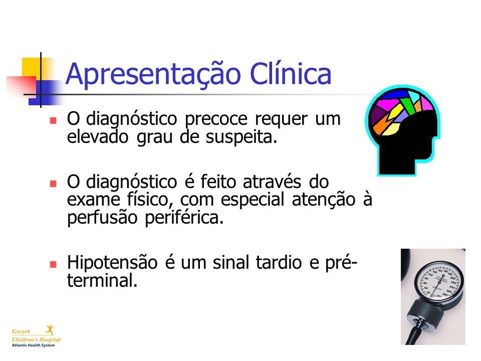 Apresentação Clínica O diagnóstico precoce requer um elevado grau de suspeita. O diagnóstico é feito através do exame físico, com especial atenção à p
