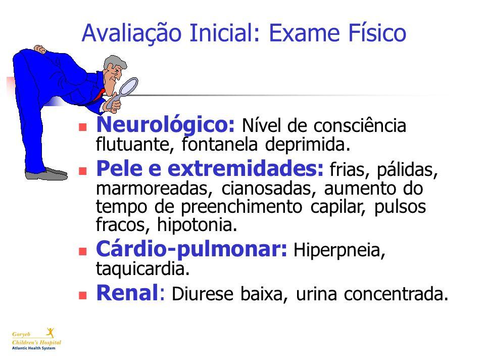 Avaliação Inicial: Exame Físico Neurológico: Nível de consciência flutuante, fontanela deprimida. Pele e extremidades: frias, pálidas, marmoreadas, ci