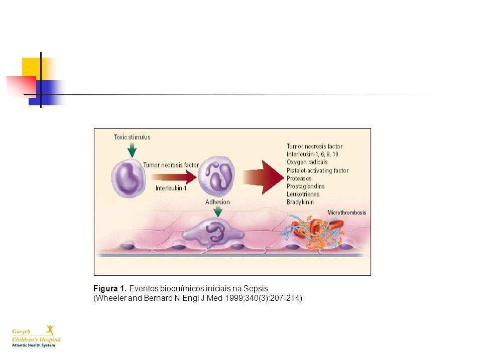 Figura 1. Eventos bioquímicos iniciais na Sepsis (Wheeler and Bernard N Engl J Med 1999;340(3):207-214)