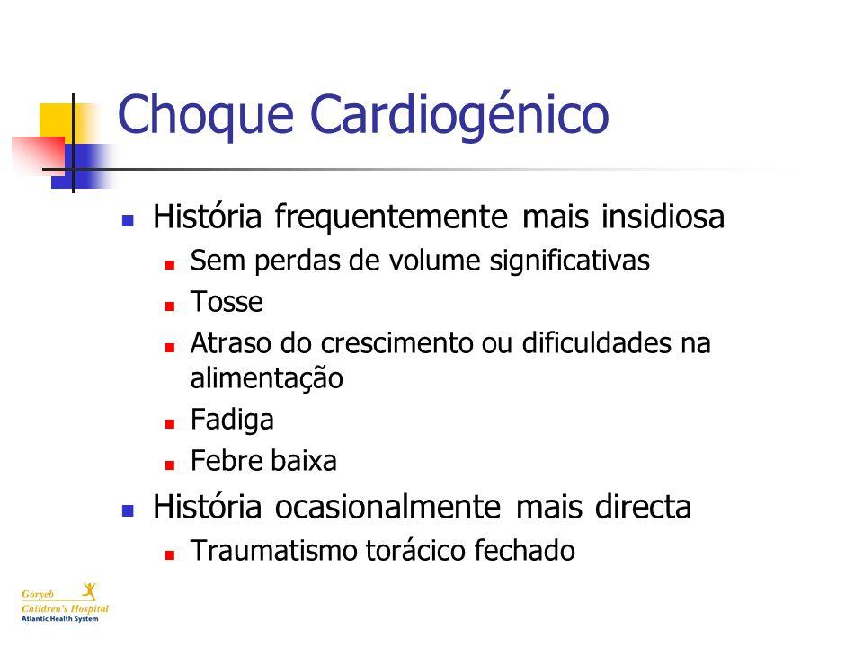 Choque Cardiogénico História frequentemente mais insidiosa Sem perdas de volume significativas Tosse Atraso do crescimento ou dificuldades na alimenta
