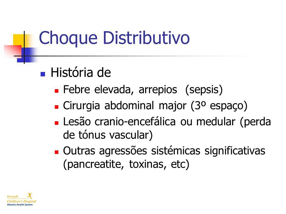 Choque Distributivo História de Febre elevada, arrepios (sepsis) Cirurgia abdominal major (3º espaço) Lesão cranio-encefálica ou medular (perda de tón