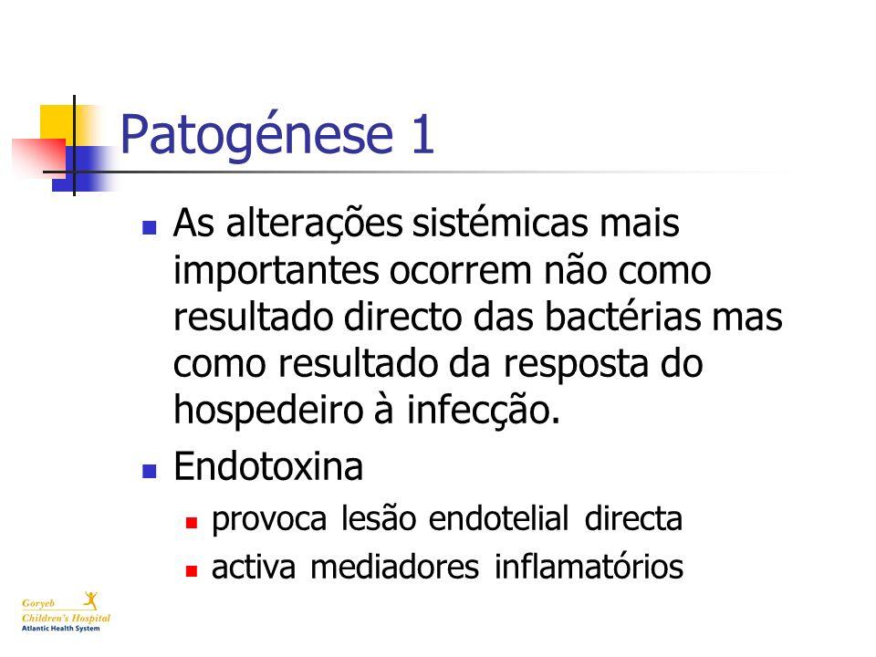 Patogénese 1 As alterações sistémicas mais importantes ocorrem não como resultado directo das bactérias mas como resultado da resposta do hospedeiro à