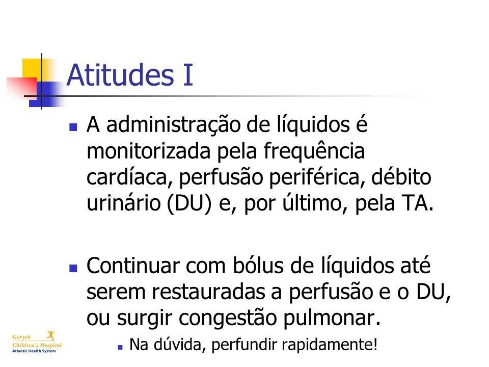 Atitudes I A administração de líquidos é monitorizada pela frequência cardíaca, perfusão periférica, débito urinário (DU) e, por último, pela TA. Cont