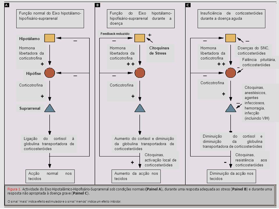 Função normal do Eixo hipotálamo- hipofisário-suprarrenal Função do Eixo hipotálamo- hipofisário-suprarrenal durante a doença Insuficiência de cortico