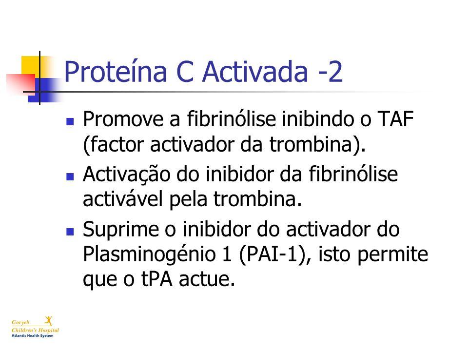 Proteína C Activada -2 Promove a fibrinólise inibindo o TAF (factor activador da trombina). Activação do inibidor da fibrinólise activável pela trombi