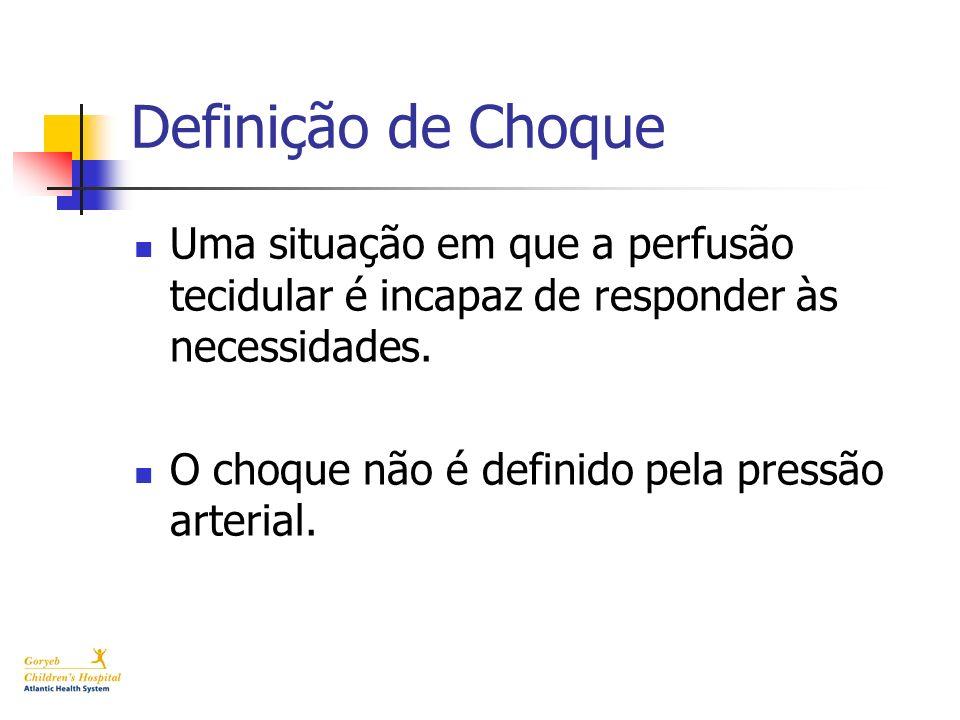 Definição de Choque Uma situação em que a perfusão tecidular é incapaz de responder às necessidades. O choque não é definido pela pressão arterial.