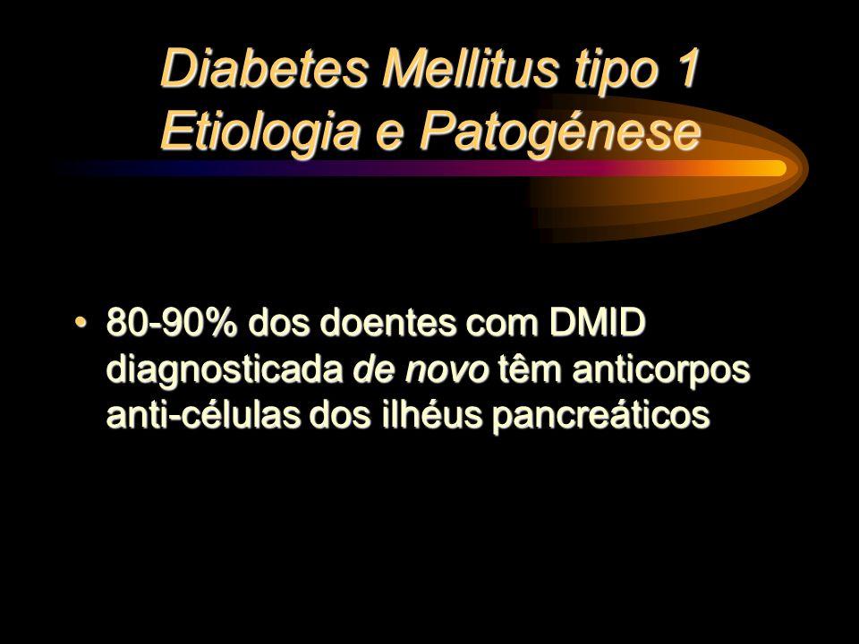 Diabetes Mellitus tipo 1 Etiologia e Patogénese 80-90% dos doentes com DMID diagnosticada de novo têm anticorpos anti-células dos ilhéus pancreáticos8
