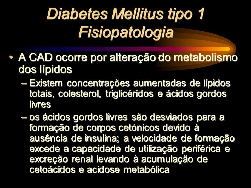 Diabetes Mellitus tipo 1 Fisiopatologia A CAD ocorre por alteração do metabolismo dos lípidosA CAD ocorre por alteração do metabolismo dos lípidos –Ex