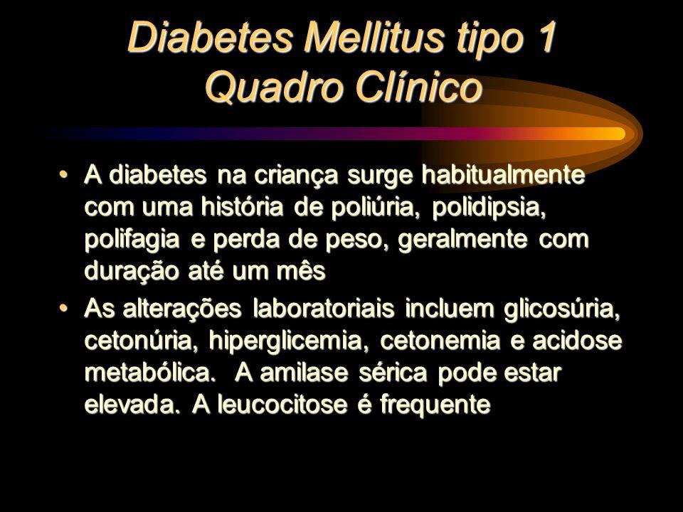 Diabetes Mellitus tipo 1 Quadro Clínico A diabetes na criança surge habitualmente com uma história de poliúria, polidipsia, polifagia e perda de peso,