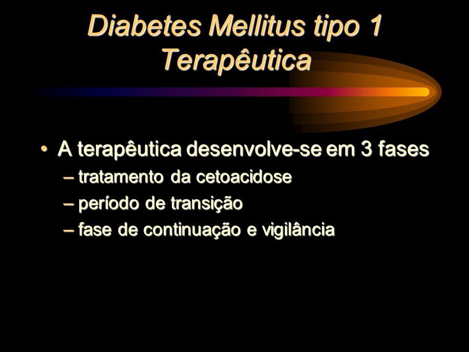 Diabetes Mellitus tipo 1 Terapêutica A terapêutica desenvolve-se em 3 fasesA terapêutica desenvolve-se em 3 fases –tratamento da cetoacidose –período