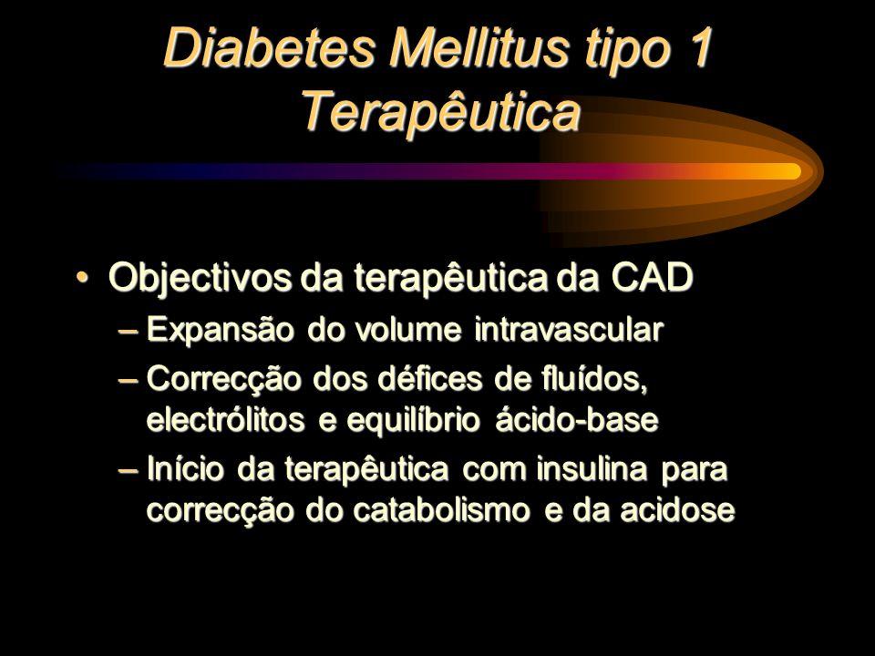 Diabetes Mellitus tipo 1 Terapêutica Objectivos da terapêutica da CADObjectivos da terapêutica da CAD –Expansão do volume intravascular –Correcção dos