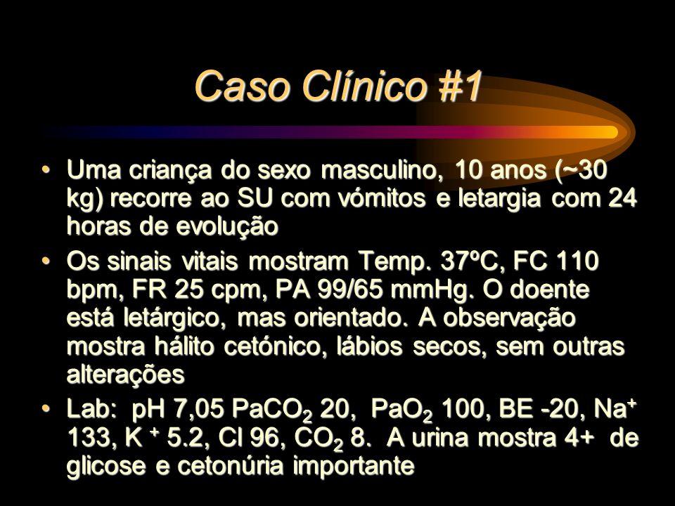 Caso Clínico #1 Uma criança do sexo masculino, 10 anos (~30 kg) recorre ao SU com vómitos e letargia com 24 horas de evoluçãoUma criança do sexo mascu