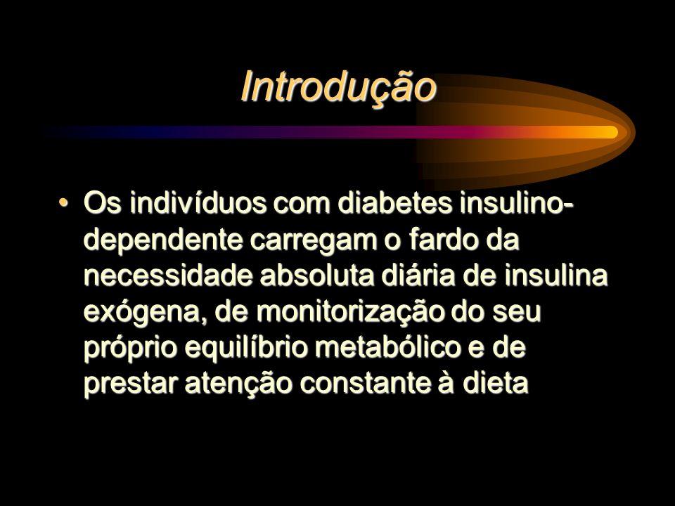 Introdução Os indivíduos com diabetes insulino- dependente carregam o fardo da necessidade absoluta diária de insulina exógena, de monitorização do se